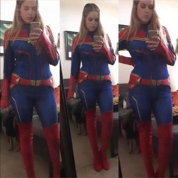 Rubie S Other Adult Womens Captain Marvel Costume Poshmark Captain marvel embodies hope and what's to come in infinity war. park — who's been with marvel for nine years — has coincidentally had the honor of designing a lot of the other mcu female superheroes including black widow, scarlett witch, hela, mantis, nebula, and wasp! adult women s captain marvel costume